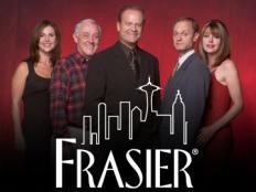 FRASIER -- NBC Series -- Pictured: (l-r) Peri Gilpin as Roz Doyle, John Mahoney as Martin Crane, Kelsey Grammer as Dr. Frasier Crane, Moose as Eddie, David Hyde Pierce as Dr. Niles Crane, Jane Leeves as Daphne Moon -- NBC Photo: Chris Haston