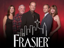 FRASIER -- NBC Series -- Pictured: (l-r) Peri Gilpin as Roz Doyle, John Mahoney as Martin Crane, Kelsey Grammer as Dr. Frasier Crane, Moose as Eddie, David Hyde Pierce as Dr. Niles Crane, Jane Leeves as Daphne Moon -- NBC Photo: Chris Haston