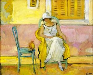 Woman-in-a-White-Dress-Henri-Lebasque-oil-painting